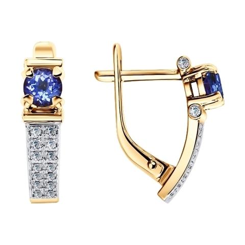 6024102 - Серьги из золота с бриллиантами и танзанитами