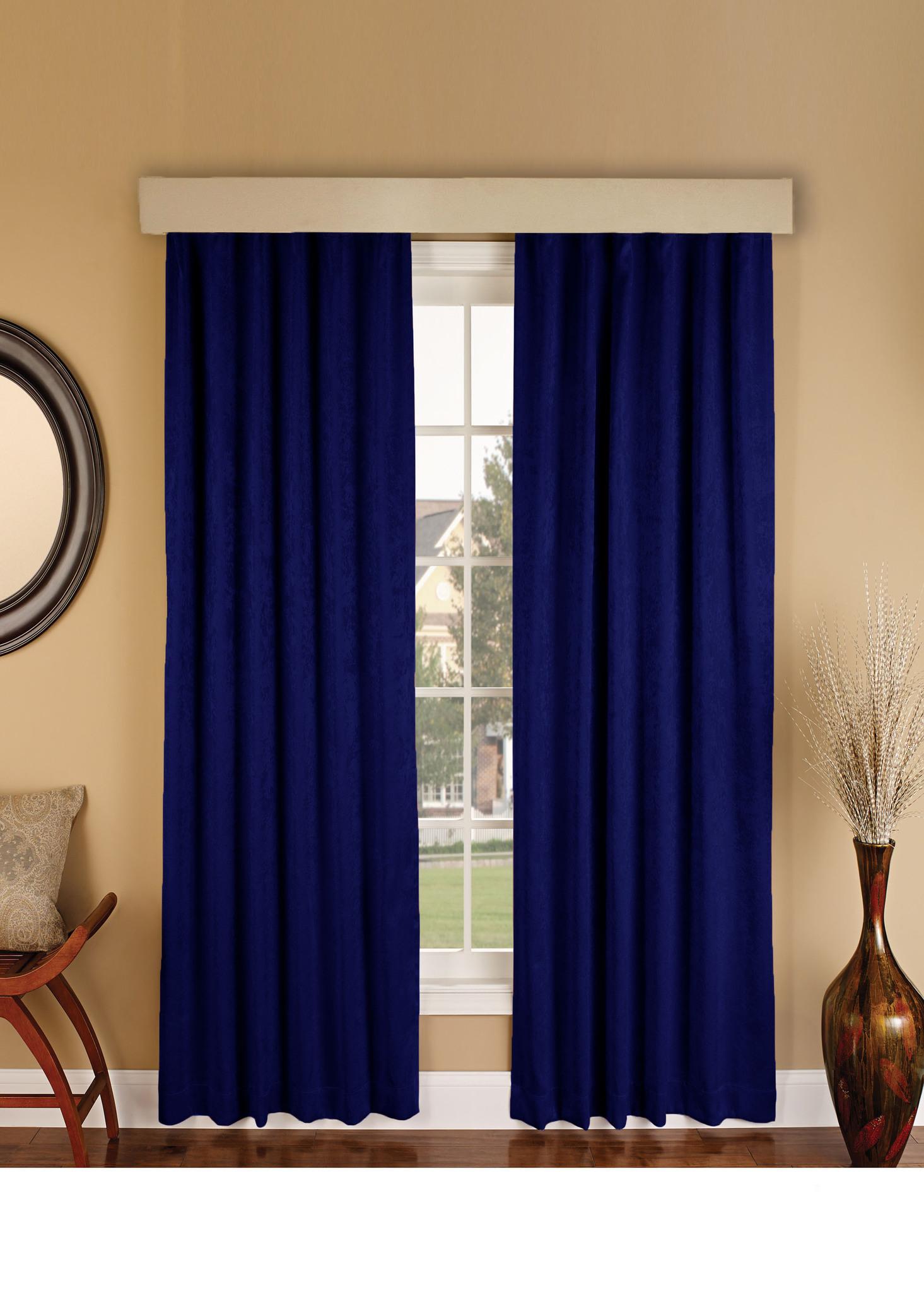 Длинные шторы. Suede (темно-синий).  Имитация замши