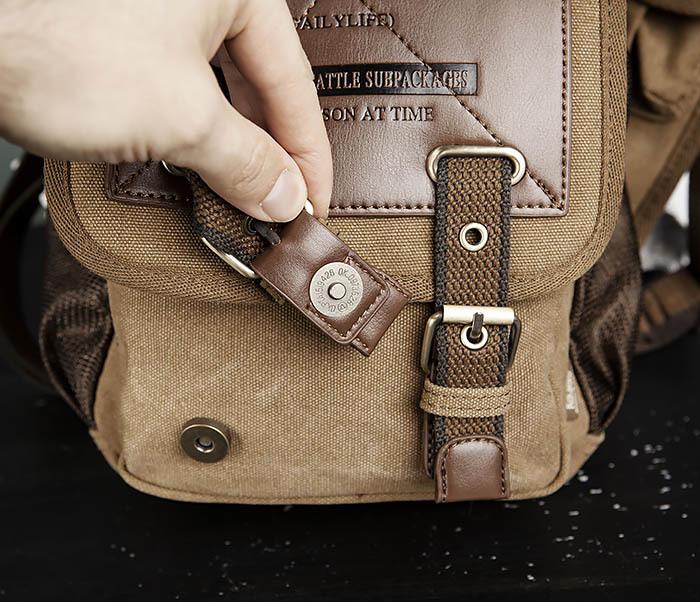 BAG307-2 Текстильная набедренная сумка коричневого цвета фото 09