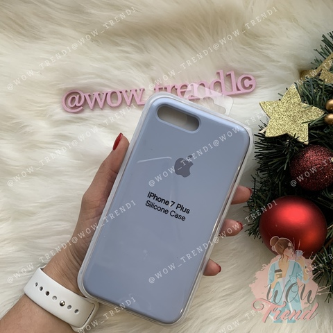 Чехол iPhone 7/8 Silicone Case Full /lilac cream/ голубой