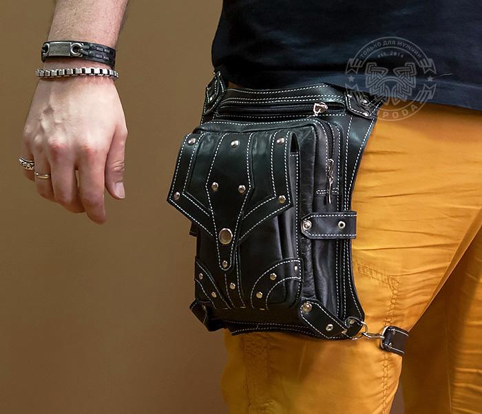 Boroda Design, Мужская сумка на бедро из натуральной кожи, ручная работа