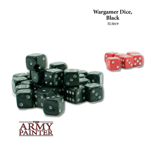 Wargaming Dice: Black with Red