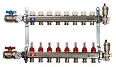Коллектор Stout на 8 контуров с расходомерами для тёплого пола из нержавеющей стали в сборе SMS-0907-000008