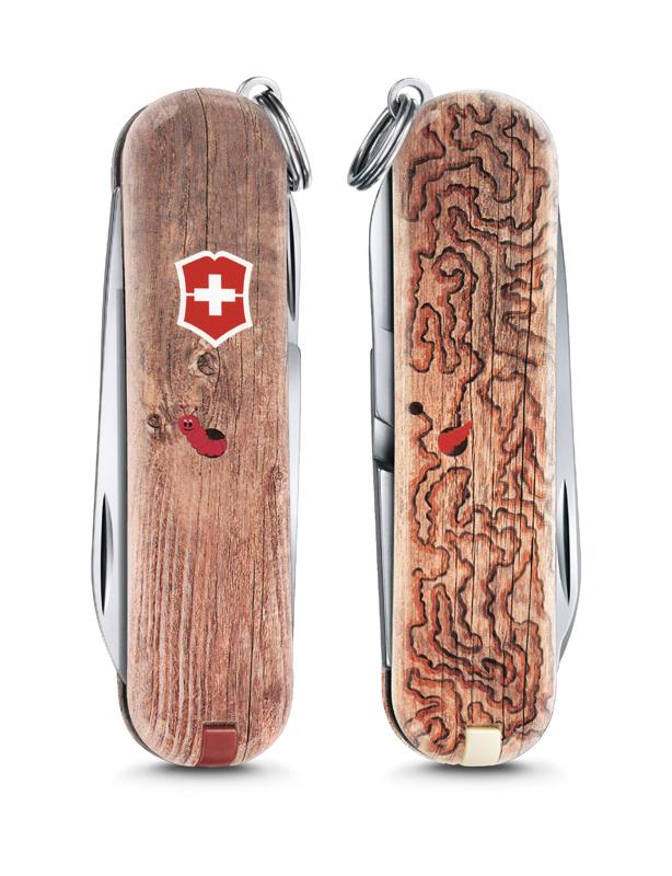 "Нож-брелок Victorinox Classic LE 2017, 58 мм, 7 функций, ""Woodworm"""