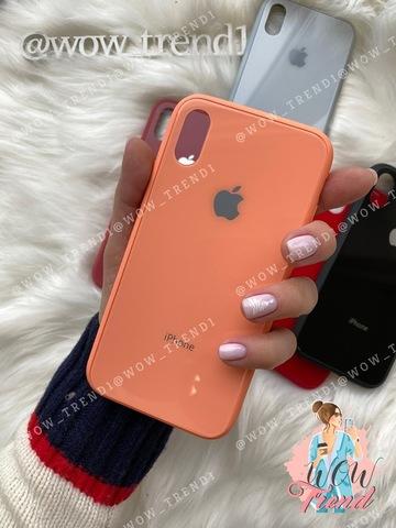 Чехол iPhone XS MAX Glass Pastel color Logo /peach/