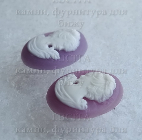 "Камея ""Девушка"" белого цвета на лиловом фоне - пара камей 18х13 мм ()"