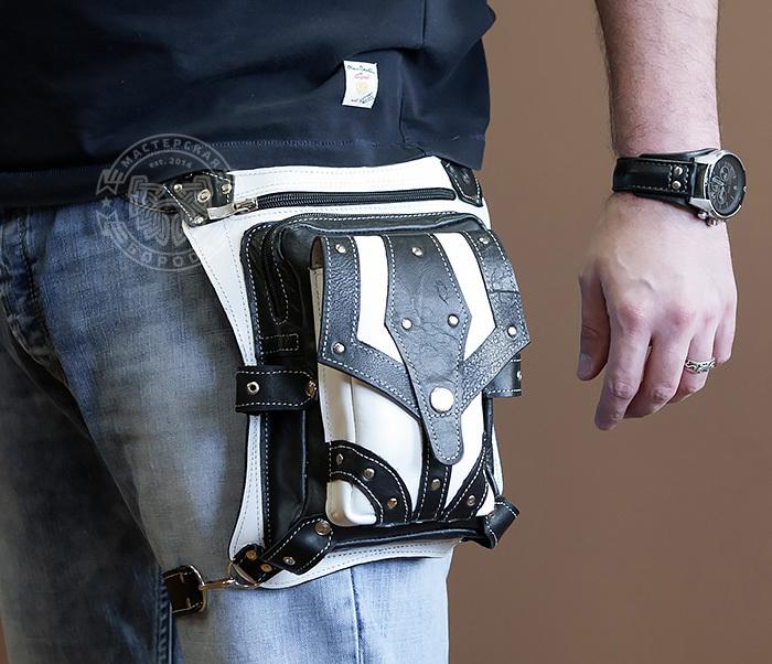 BAG373-4 Мужская сумка на бедро из белой и черной кожи, ручная работа фото 01