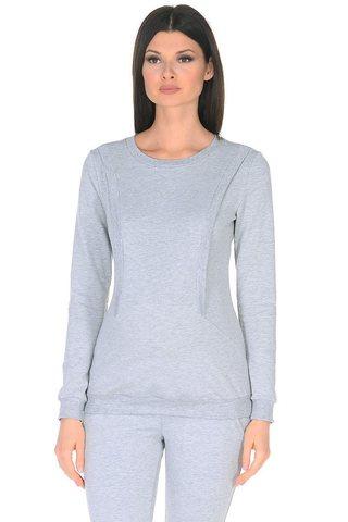 Джемпер для беременных и кормящих 10182 светло-серый