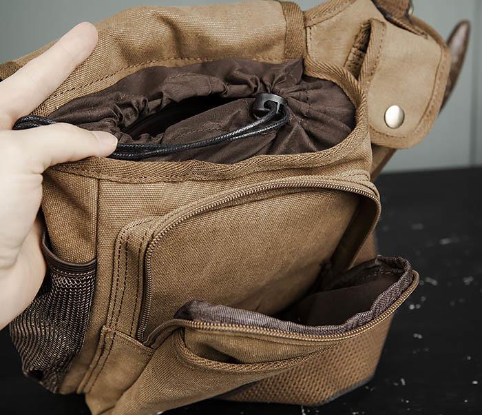 BAG307-2 Текстильная набедренная сумка коричневого цвета фото 13