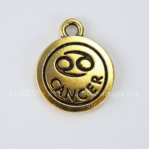 """Подвеска TierraCast знак зодиака """"Рак"""" (цвет-античное золото) 19х15 мм"""