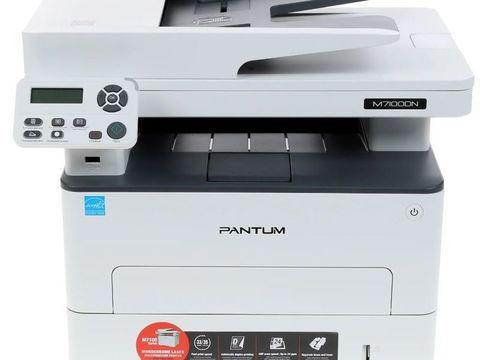 МФУ Pantum M7100DN - лазерное, монохромное, А4, копир/принтер/сканер, 33 стр/мин, 1200 X 1200 dpi, 256Мб RAM, лоток 250 стр, PCL/PS, USB/LAN, дуплекс, черный корпус, с автоподатчиком