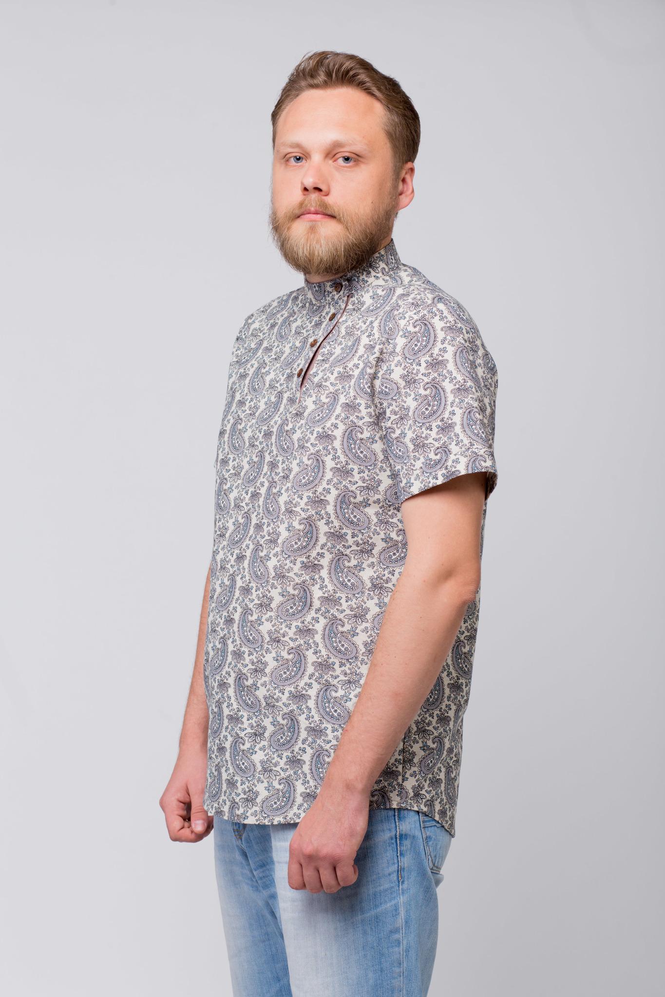 Рубашка льняная Огурцы вид сбоку