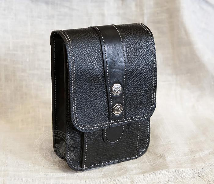 BAG379-1 Мужская сумка на пояс из натуральной кожи, ручная работа фото 01