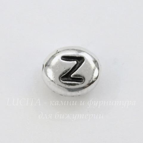 """Бусина овальная TierraCast """"Буква Z"""" 7х6х3 мм (цвет-античное серебро)"""