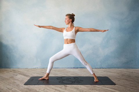 Каучуковый коврик для йоги ОМ с разметкой 185*68*0,4см