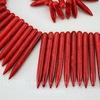 Бусина Говлит (искусств, тониров), продолговатая, цвет - красный, 20-49х5 мм, нить