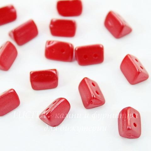 Бусина Trios Треугольник с 2 отверстиями, 6х4 мм, пастельно-кораллово-красная