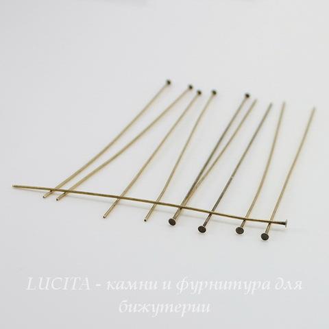 Винтажные пины - гвоздики 77х0,7 мм (оксид латуни), 10 штук ()