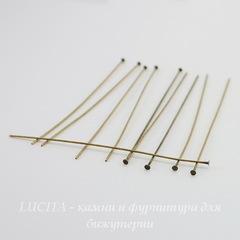 Винтажные пины - гвоздики 77х0,7 мм (оксид латуни), 10 штук