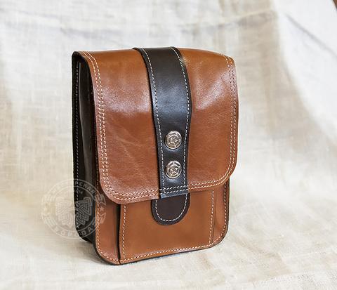 Мужская кожаная сумка на пояс коричневого цвета, ручная работа