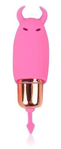 Розовый силиконовый вибромассажер с рожками - 6,4 см.