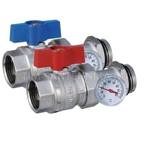Кран+тройник под термометр красн+син (комплект 2шт.) (с термометром)