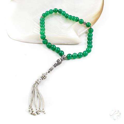 Чётки из зелёного агата с серебром 925 пробы 33 бусины
