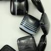 """Бусина Агат (тониров), """"Ромбик"""", цвет - черный с белыми полосками, 19х19х7 мм, нить"""