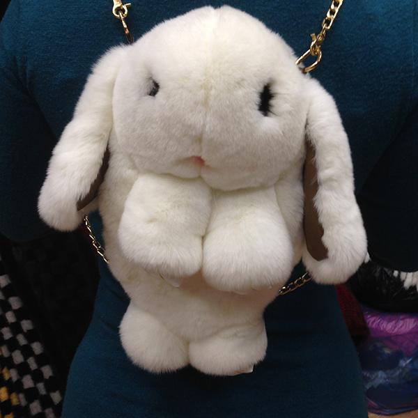 Сумка-рюкзак кролик (зайка) из натурального меха