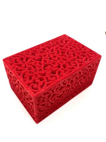 Бархатная, ажурная подарочная коробка для украшений