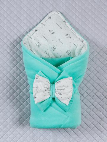 Велюровый конверт одеяло Маленькие стиляжки (ментоловый)