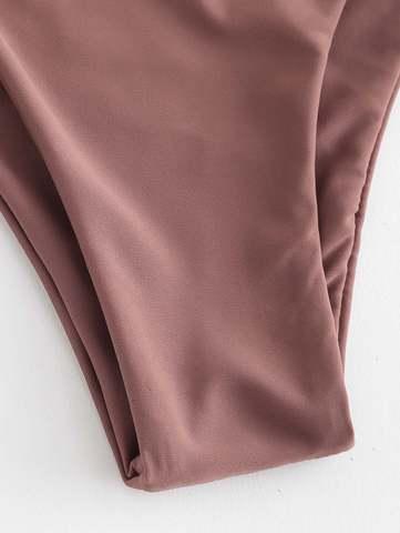 купальник бандо пыльная роза коричневый на шнуровке