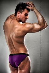 Мужские трусы фиолетовые с черными стрэпами