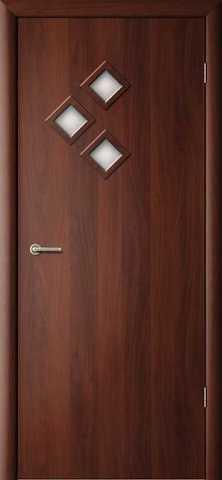 Дверь Сибирь Профиль Стрела, цвет итальянский орех, остекленная