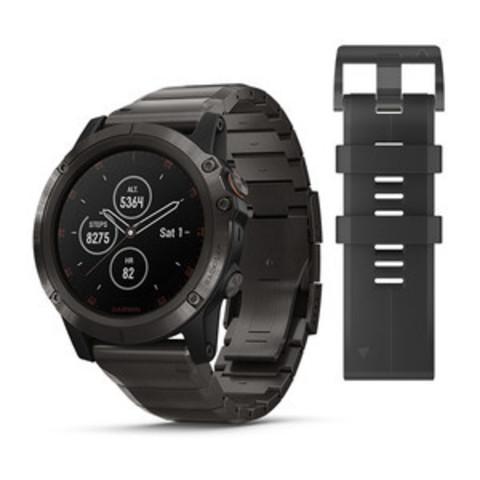 Купить Мужские мультиспортивные часы Garmin Fenix 5X Plus Sapphire - титановый серый DLC с титановым DLC ремешком 010-01989-05 по доступной цене