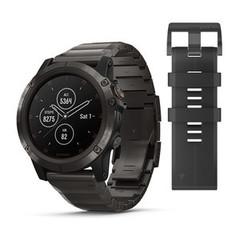 Мужские мультиспортивные часы Garmin Fenix 5X Plus Sapphire - титановый серый DLC с титановым DLC ремешком 010-01989-05