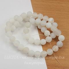 Бусина Агат цветочный матовый (тониров), шарик, цвет - белый, 8 мм, нить