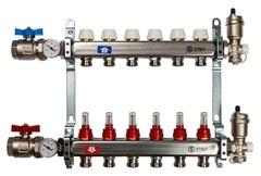 Коллектор Stout на 6 контуров с расходомерами для тёплого пола из нержавеющей стали в сборе SMS-0907-000006