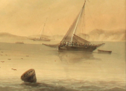 Samuel ATKINS (c.1787-1808). THE FRIGATE AT ANCHOR OFF COAST WITH OTHER SHIPPING