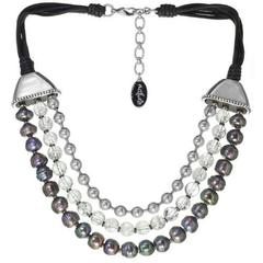 Колье Nature Bijoux BLACK PEARL С бусинами в три ряда