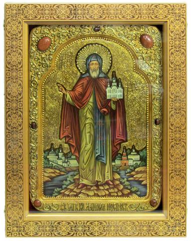 Большая Живописная икона Святой благоверный князь Даниил Московский 42х29см на кипарисе в березовом киоте
