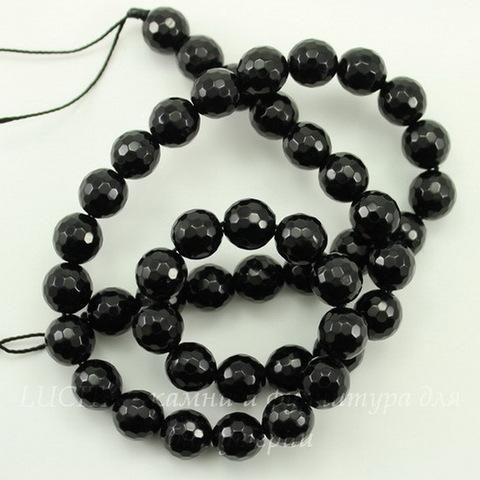 Бусина Агат (тониров), шарик с огранкой, цвет - черный, 8 мм, нить