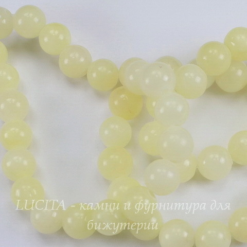 Бусина Жадеит (тониров), шарик, цвет - бледно-желтый, 8 мм, нить