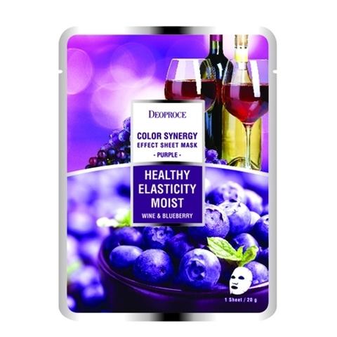 Deoproce SHEET Маска тканевая на основе черники и красного винограда DEOPROCE COLOR SYNERGY EFFECT SHEET MASK PURPLE  20g 20гр