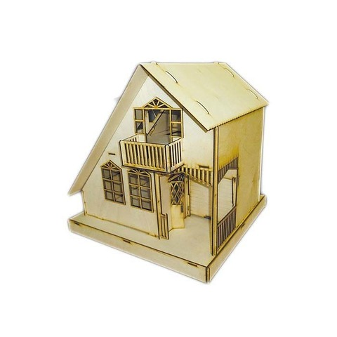 """Кукольный домик из фанеры """"Дюплекс"""" Полноцвет с набором для раскрашивания и клеем"""