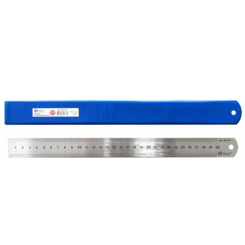 Линейка КОБАЛЬТ 400х28х0.7 мм, нерж.сталь (243-387)