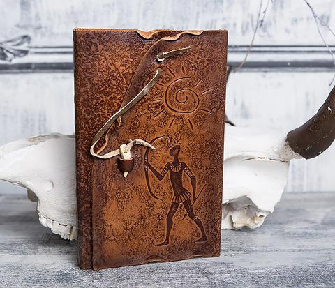 Блокнот «Лучник» с обложкой из натуральной кожи с застежкой - клыком (А5)