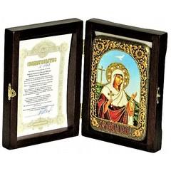Инкрустированная Икона Святая мученица Иулия (Юлия) Карфагенская 15х10см на натуральном дереве, в подарочной коробке