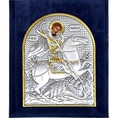 Георгий Победоносец. Маленькая серебряная икона в бархатном футляре.