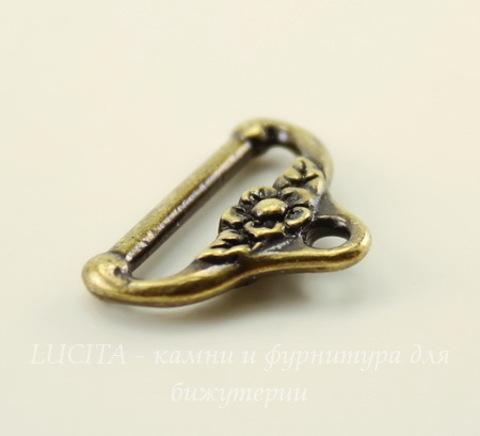 """Концевик для плоского шнура TierraCast """"Цветочный"""" (цвет-античная латунь) 19х13 мм"""